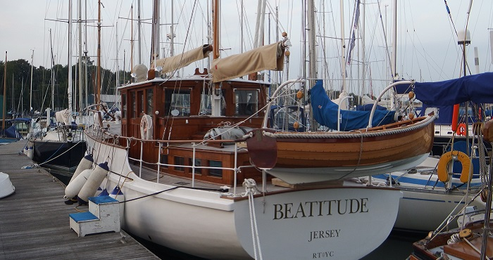 Beatitude on her mooring at the Elephant Boatyard