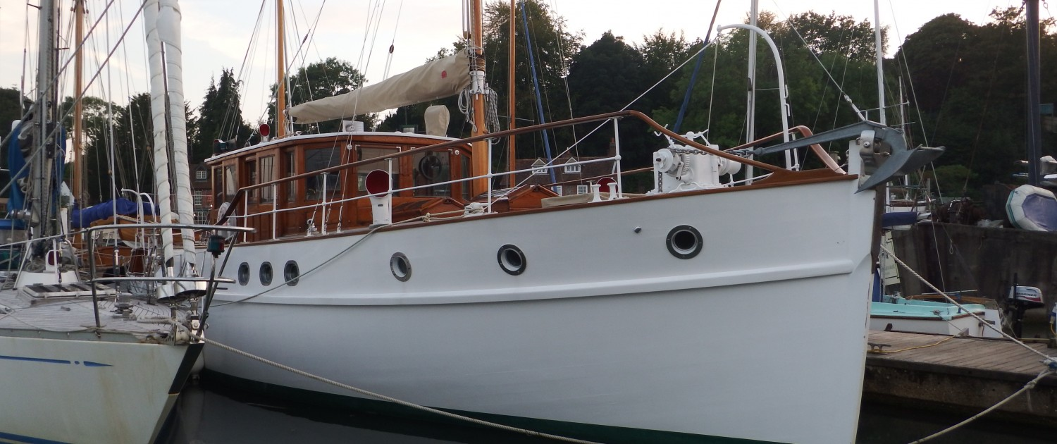 Beatitude moored at Elephant Boatyard