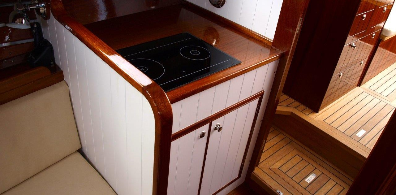 Nigella below deck beautiful teak refit