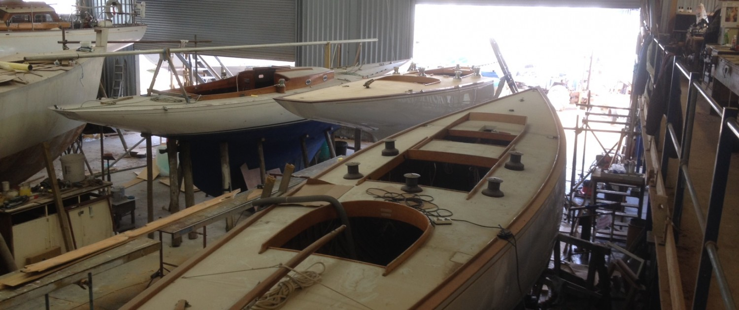 Restoration work in the shed 6m classic sailing yachts