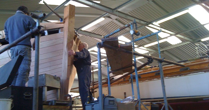 Teak restoration work in the Elephant Boatyard shed