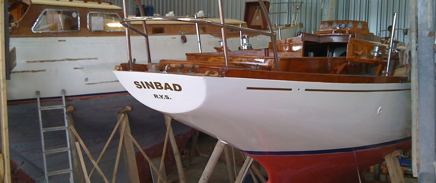 Sinbad sailing yacht in the repair shed